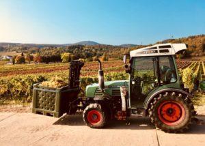 hanewald-schwerdt great green tractor near wineyard in germany
