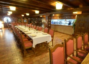 wine tasting table with wine on it inside Heras Cordon winery in Spain