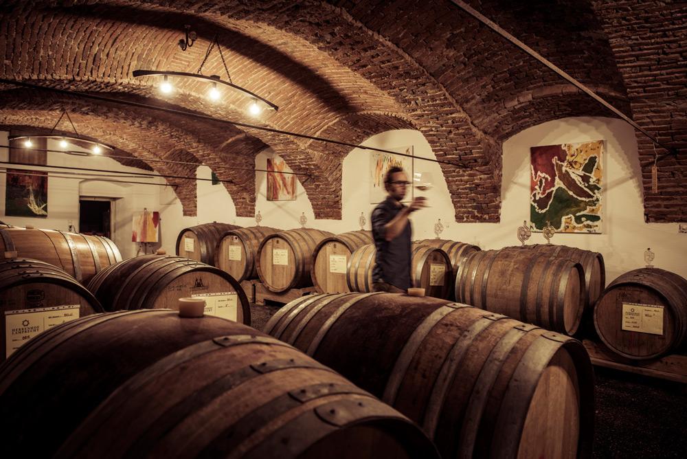 herrenhof lamprech modern wine cellar with wooden barrels for wine aging
