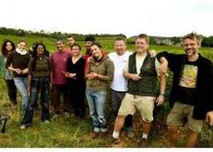 The team in the vineyard at Domaine de la Monette in Burgundy