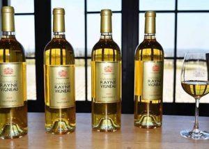 A range of white bottles at Château de Rayne Vigneau