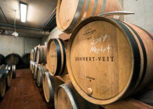 lehnert-veit large wooden barrels for wine aging inside cellar