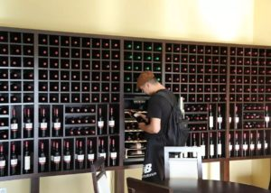 monteiro de matos many bottles of wine on shelves in the estate