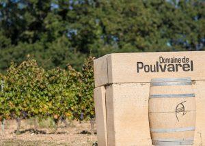 Barrel in the vineyard at Domaine de Poulvarel