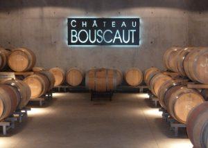 Château Bouscaut - cellar with barrels displayed