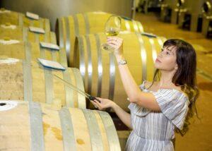 pazo pondal winemaker near wooden barrels in the wine cellar