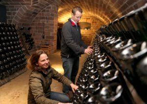sektgut wilhelmshof great cellar with many wine bottles inside winery