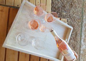 seven springs bottle of divine rose wine and wine glasses for wine tasting