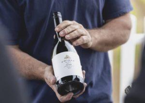 smidge wines winemaker with bottle of amazing wines from winery