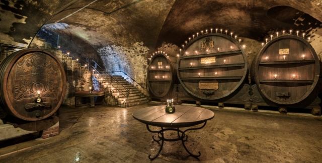 staatlicher hofkeller unique wine cellar with wooden barrels inside winery