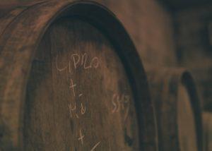 steras wines wooden barrel for wine aging inside cellar in slovenia