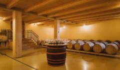 sveti martin wooden barrels for wine aging inside cellar in slovenia