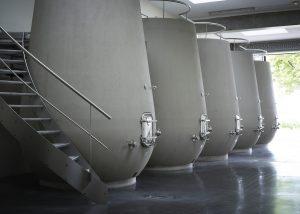 Tanks for the vinification of the wine at Château de la Dauphine in Bordeaux