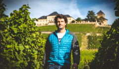 weingut trenz winemaker amid vineyard against estate in germany