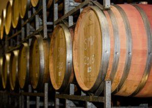 waverley hills wooden barrels for wine aging inside cellar in south africa