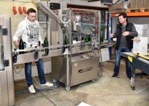 weingut familie rauen winemakers working near conveyor in the winery