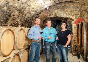 weingut höfling three winemakers tasting wines inside cellar