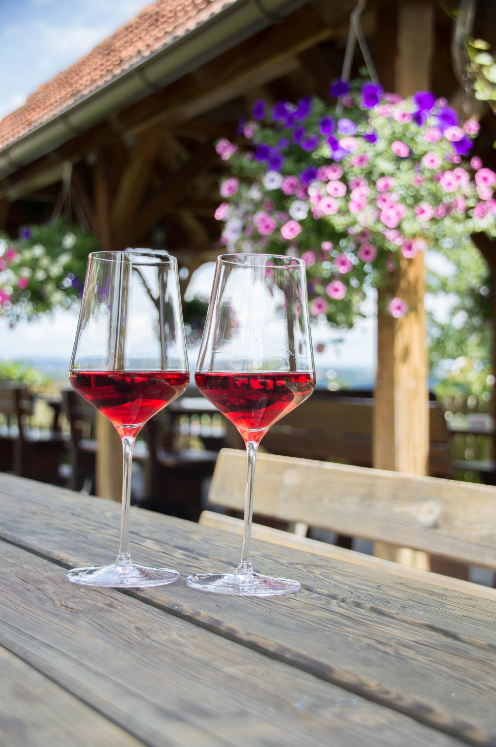 weingut hiden glasses with red wine ready for tasting in the yard