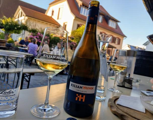 weingut kilian hunn bottle of wine and glass ready for tasting