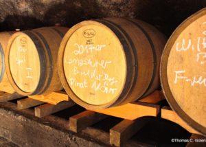 weingut rinke wooden barrels for wine aging in the cellar in lovely germany