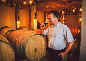 weingut seck winemaker near wooden barrels inside wine cellar