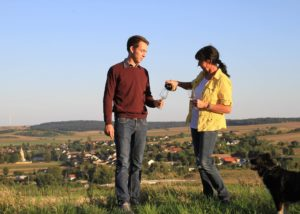 weingut thüringer owners tasting wines against picturesque landscape