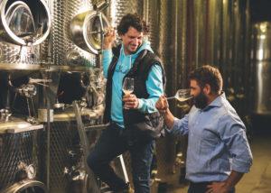 weingut trenz winemakers tasting amazing wines near steel tanks
