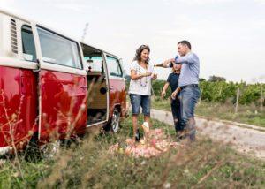 weingut werk family tasting wine on picknick near winery in germany
