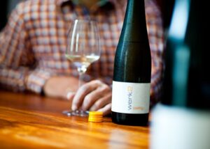 weingut werk man tasting amazing white wine inside winery