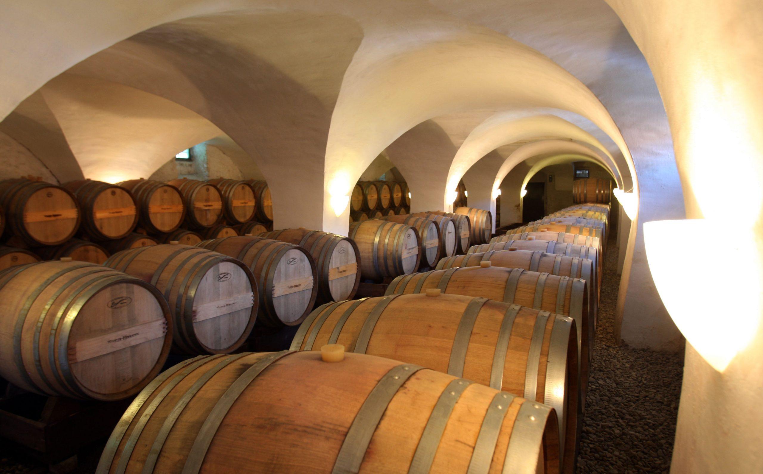 winkler-hermaden amazing wine cellar with mane wooden barrels