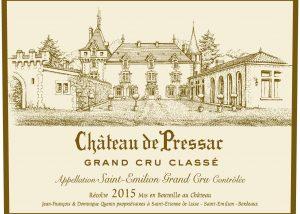 The label with logo at Château de Pressac in Bordeaux