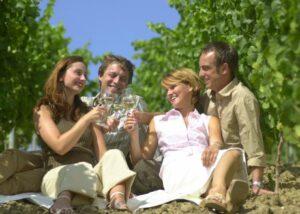 People enjoing their wines in the vineyard of Weingut Martin Mößlein winery