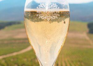 Wine glass at Abrau-Durso winery