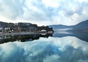 Beautiful lake view of Abrau-Durso winery