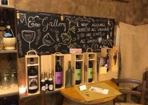 Wine bottles dislayed inside the tasting room of Agricola Matteoli winery