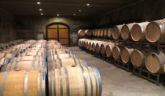 Wine barrels arranged inside the cellar room at Anderson Family Vineyard