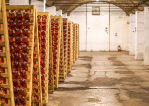 Wine bottles stored at Azuga Rhein Wine Cellar winery