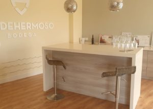 Bar counter at the tasting room of Bodega valdehermoso winery
