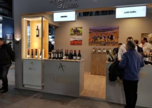 Outlet of Bodegas amaren winery with several bottles of wine in display on counters