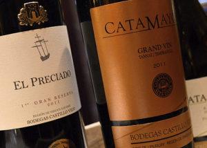 Close shot of three bottles of wine by bodegas castillo viejo winery