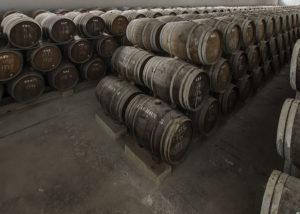 Wine barrels properly arranged and keplt inside the cellar at Bodegas Toro Albalá