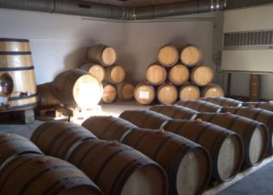 Wine barrels of the Château de Gaudou winery