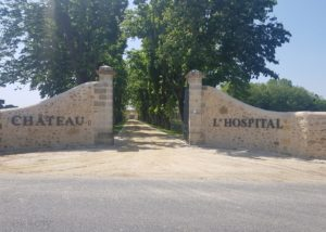 Entrance gate at Château de L'Hospital winery