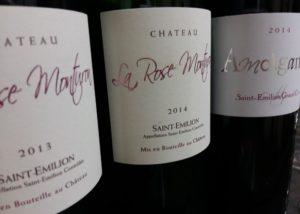 Wine bottles of the chateau La Rose Monturon winery