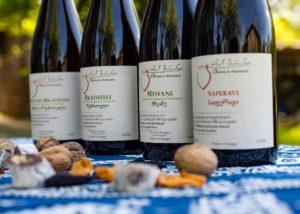 Wine bottles of the Chona's Marani winery