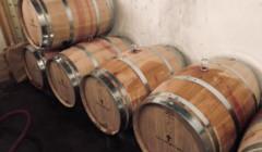 Wine barrels of the Clos La Petite Croix winery