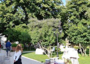 Tasting setting in the garden of the CONTE GUICCIARDINI di Ferdinando Guicciardini - CASTELLO DI POPPIANO winery