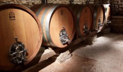 Wine barels inside the Corte Martini winery