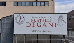 Signboard at the entrance gate of Degani F.lli di Degani Aldo winery