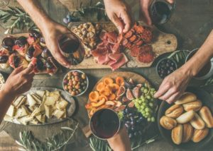 Variety of food and wine at Degrassi winery